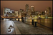 Wharf and skyline by night. Boston, Massachussets, USA (color)
