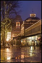 Quincy Market and Faneuil Hall at night. Boston, Massachussets, USA (color)