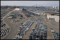 Cars lined up in shipping harbor. Boston, Massachussets, USA (color)