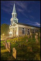 Cemetery and church at night, Concord. Massachussets, USA