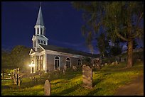 Holly Family church and graveyard at night, Concord. Massachussets, USA
