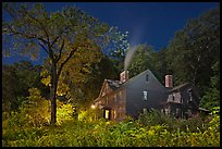 Orchard House at night with smoking chimney, Concord. Massachussets, USA (color)