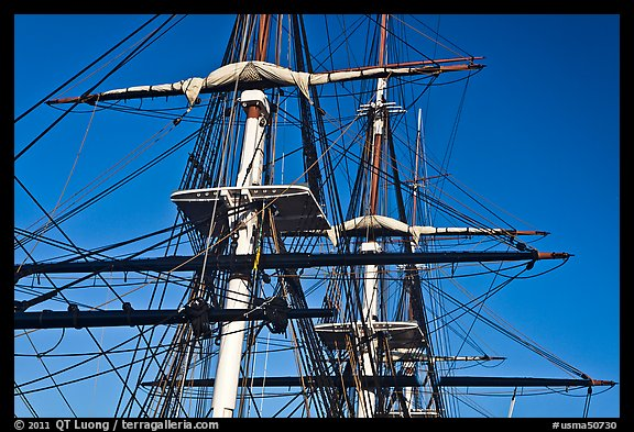 Masts of frigate USS Constitution. Boston, Massachussets, USA
