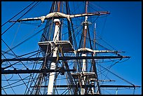 Masts of frigate USS Constitution. Boston, Massachussets, USA (color)