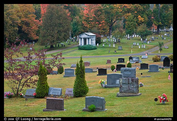 Cemetery in autumn, Greenville. Maine, USA (color)