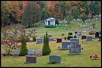 Cemetery in autumn, Greenville. Maine, USA