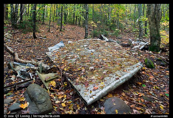 Pieces of B-52 wreckage lie scattered on Elephant Mountain. Maine, USA (color)