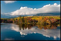 Mountain range and trees reflected in Penobscot River. Baxter State Park, Maine, USA (color)