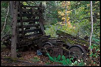 Remnants of railroad cars in the forest. Allagash Wilderness Waterway, Maine, USA