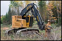 Tracked forest harvester. Maine, USA ( color)