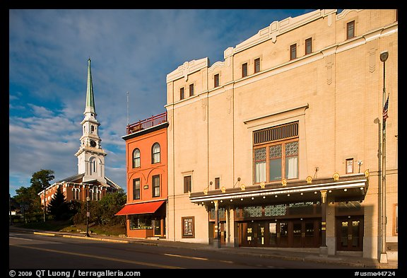 Penobscot Theater and church. Bangor, Maine, USA (color)