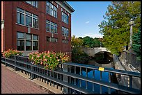 Parks and bridges over Kenduskeag stream. Bangor, Maine, USA (color)