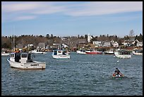Man paddling to board lobster boat. Corea, Maine, USA ( color)