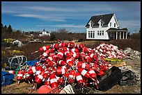 Buoys and house. Corea, Maine, USA ( color)
