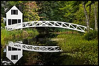 White wooden house and bridge, Somesville. Maine, USA ( color)