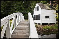 Wooden arched footbridge and house. Maine, USA ( color)