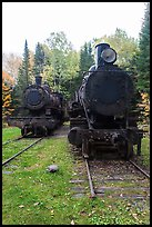 Two locomotives in the woods. Allagash Wilderness Waterway, Maine, USA (color)