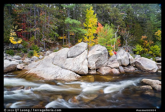 Orin Falls in autumn. Katahdin Woods and Waters National Monument, Maine, USA (color)