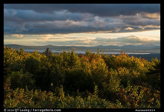 Millinocket Lake from Overlook, evening. Katahdin Woods and Waters National Monument, Maine, USA (color)
