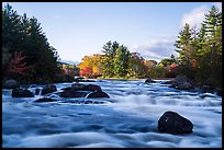 Haskell Rock Pitch and trees in autumn foliage, East Branch Penobscot River. Katahdin Woods and Waters National Monument, Maine, USA ( )