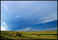 Storm cloud and hay rolls. North Dakota, USA (color)