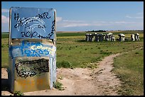 Car sculpture and distant car circle, Carhenge. Alliance, Nebraska, USA ( color)