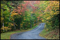 Country road in autumn, White Mountain National Forest. New Hampshire, USA (color)