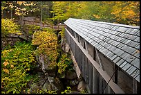 Sentinel Pine covered bridge, Franconia Notch State Park. New Hampshire, USA (color)