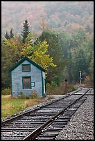 Railroad tracks and shack in autumn, White Mountain National Forest. New Hampshire, USA