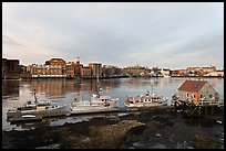 Boats, river, and skyline, early morning. Portsmouth, New Hampshire, USA ( color)