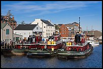Tugboats and waterfront buildings. Portsmouth, New Hampshire, USA ( color)