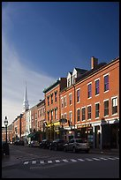 Brick buildings and church. Portsmouth, New Hampshire, USA