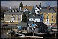 Historic houses on waterfront. Portsmouth, New Hampshire, USA (color)