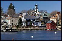 Old wooden houses and church. Portsmouth, New Hampshire, USA ( color)