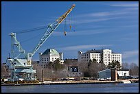Crane and former prison called The Castle. Portsmouth, New Hampshire, USA (color)