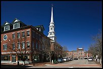 Downtown view with street and church. Portsmouth, New Hampshire, USA ( color)
