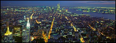 New York night cityscape. NYC, New York, USA (Panoramic color)