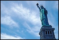 Statue of Liberty and pedestal against sky. NYC, New York, USA