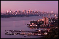 Manhattan seen from Fort Lee, New Jersey, sunrise. NYC, New York, USA ( color)