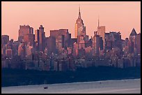 New York skyline  with Empire State Building, sunrise. NYC, New York, USA ( color)