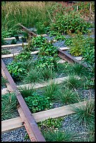 Retired railroad tracks, the High Line. NYC, New York, USA
