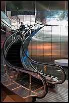 Rare curved escalator, Bloomberg Tower. NYC, New York, USA