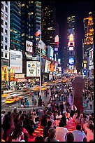 One Times Square at night and Francis Duffy monument. NYC, New York, USA ( color)