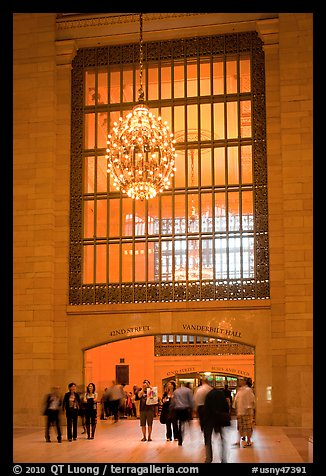 Gate and chandelier, Grand Central Terminal. NYC, New York, USA