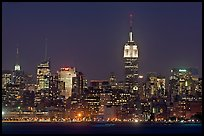 Mid-town Manhattan skyline by night. NYC, New York, USA ( color)