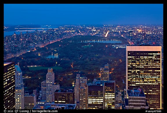 Central Park at night from above. NYC, New York, USA (color)