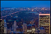 Central Park at night from above. NYC, New York, USA ( color)