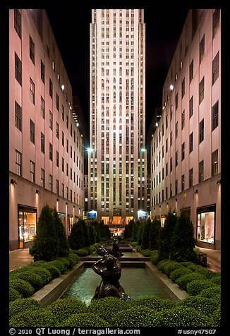 Rockefeller center by night. NYC, New York, USA (color)