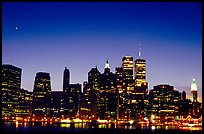 South Manhattan and WTC from Brooklyn, dusk. NYC, New York, USA
