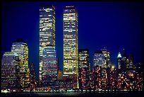 World Trade Center Twin Towers at night. NYC, New York, USA